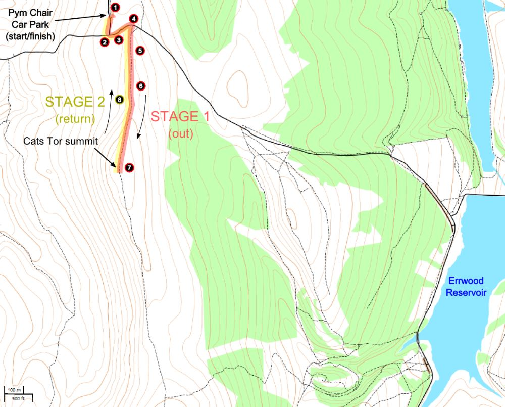 A route map for this Cats Tor walk.