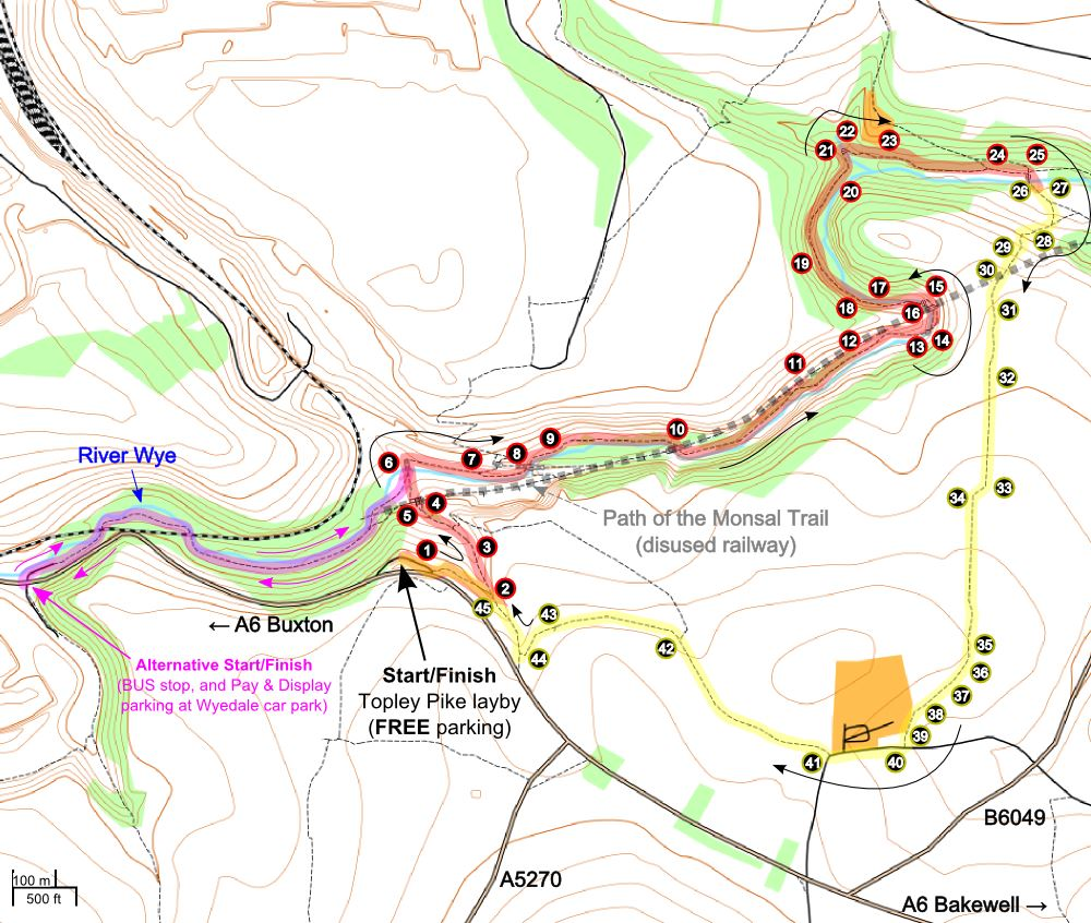 A route map for this Chee Dale walk.