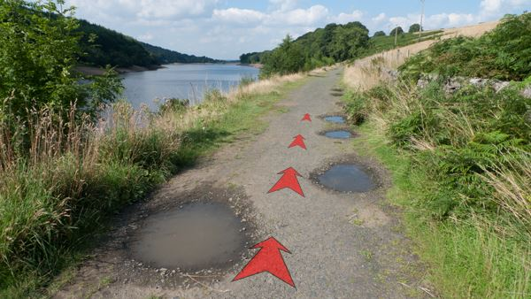 A photo of step 6 of the Fernilee Reservoir route, with red arrows superimposed to show the way.