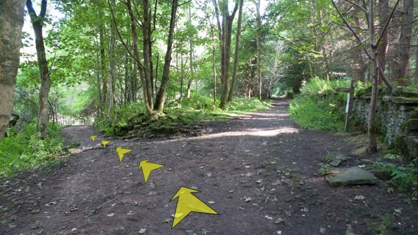 A photo of step 4 of the Fernilee Reservoir route, with yellow arrows superimposed to show the way.