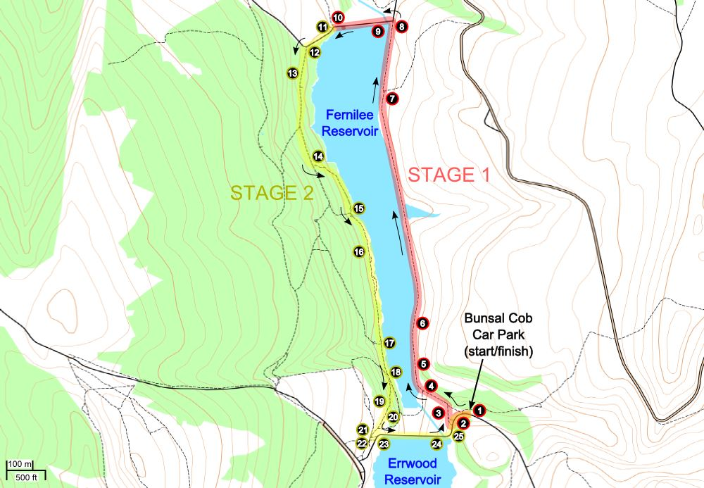 A route map for this Fernilee Reservoir walk.