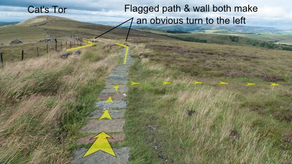 A photo of step 3 of the Shining Tor route, with yellow arrows superimposed to show the way.