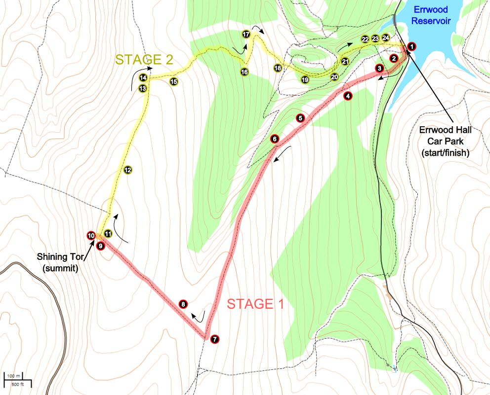 A route map for this Shining Tor walk.