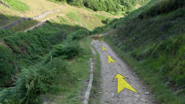 A photo of step 10 of the Three Shires Head route, with yellow arrows superimposed to show the way.