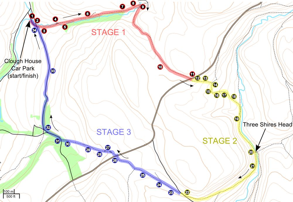 A route map for this Three Shires Head walk.