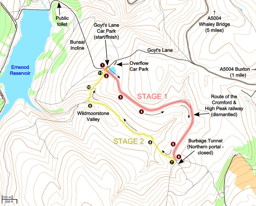 A route map for this Wildmoorstone Valley walk.